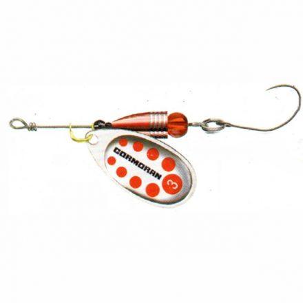 KÖRFORGÓ Cormoran Bullet Longcast egyágú horoggal (Ezüst/piros pöttyös, 3 gr)